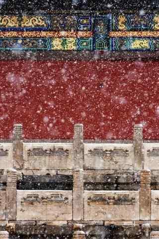 故宫里大雪纷飞手机壁纸