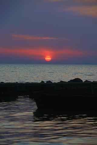 巢湖落日风景手机壁纸