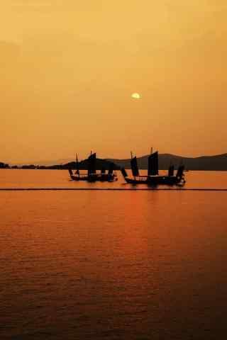 好看的太湖黄昏风景手机壁纸