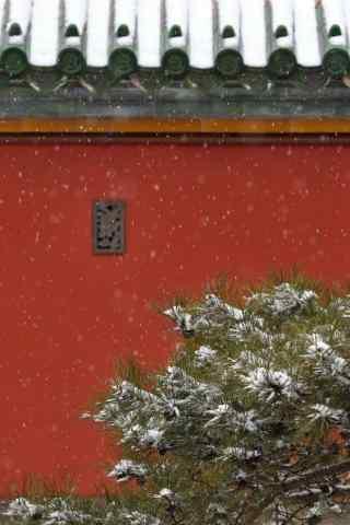 北京故宫红墙与雪景手机壁纸