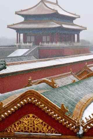 美丽的北京故宫雪景手机壁纸