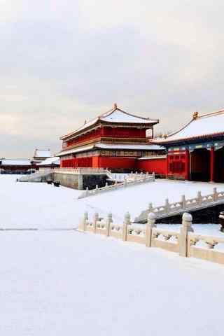 大雪之后的北京故宫手机壁纸