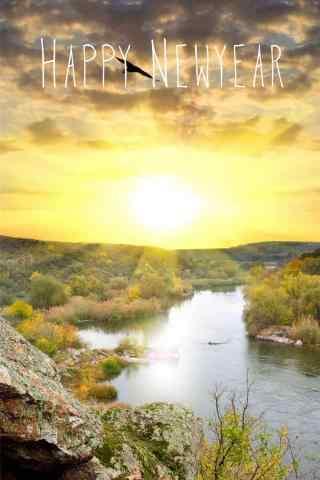 阳光下河流风景手机壁纸