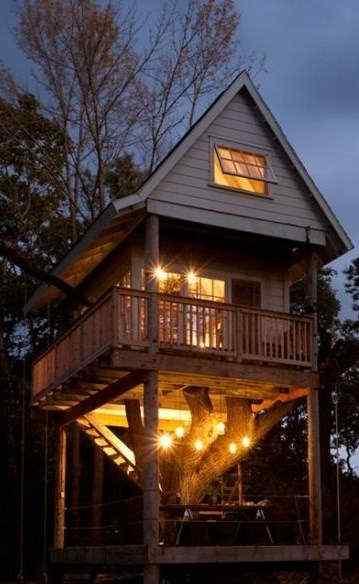 美丽的小木屋夜间手机壁纸