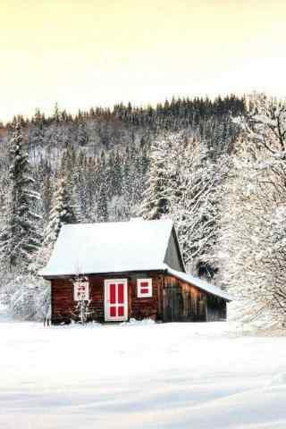 雪中的小木屋手机风景壁纸