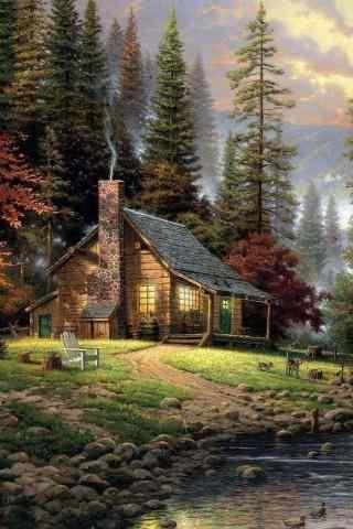 美丽的小木屋手机风景壁纸