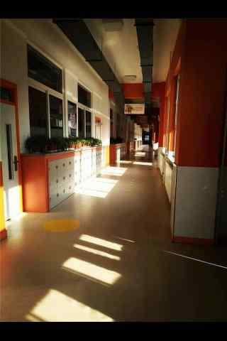开学季之校园走廊风景手机壁纸