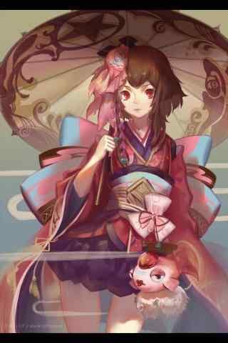 撑伞少女阴阳师神乐手机壁纸(7张)