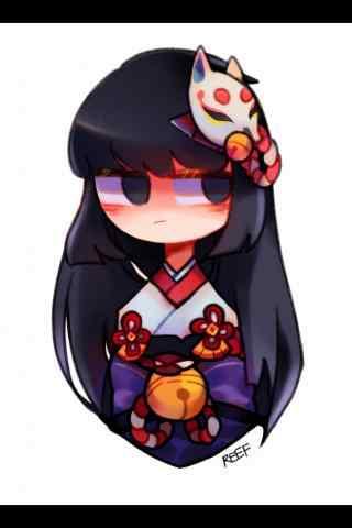 Q版脸红的阴阳师式神雪女手机壁纸