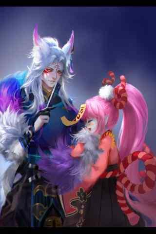 阴阳师手机壁纸之妖狐与跳跳妹妹