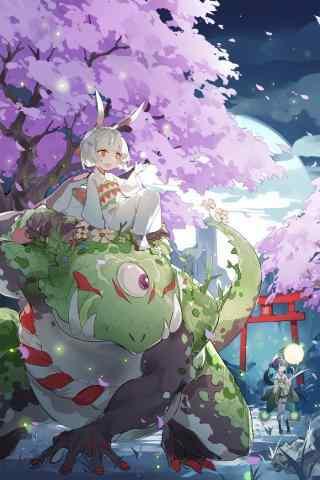 阴阳师可爱山兔与萤草手机壁纸