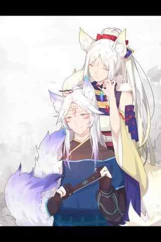 好看的阴阳师式神白狼与妖狐
