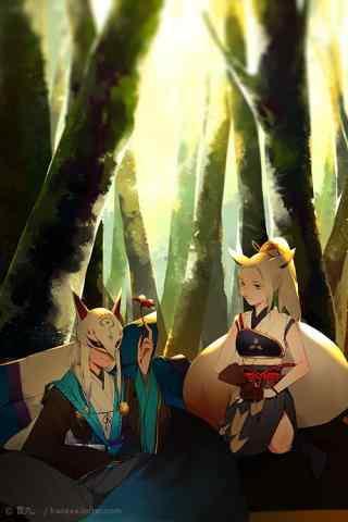 唯美的阴阳师白狼与妖狐图片