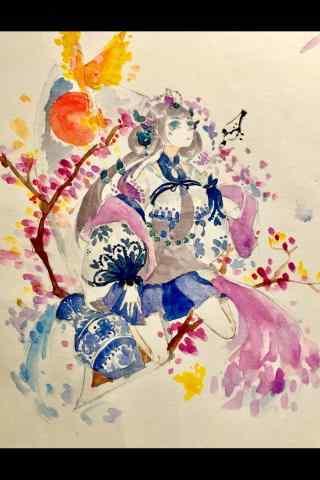 水彩画阴阳师花鸟卷手机壁纸