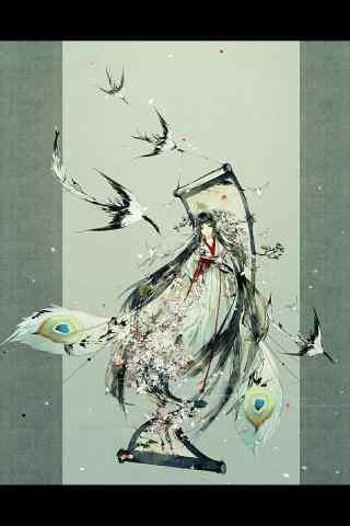 唯美山水画版花鸟卷手机壁纸
