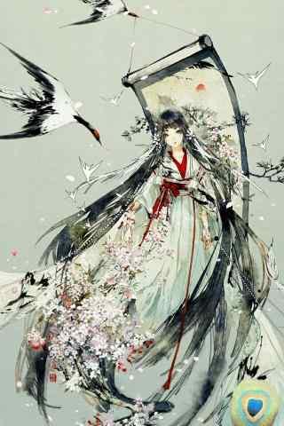 水墨画版花鸟卷手机壁纸
