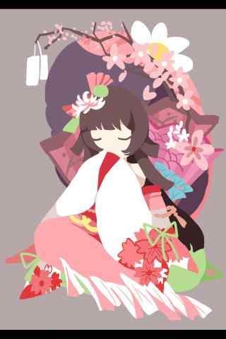 阴阳师椒图樱花祭新皮肤手绘手机壁纸