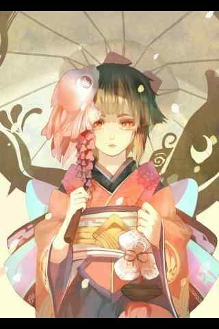 撑伞少女阴阳师神乐手机壁纸