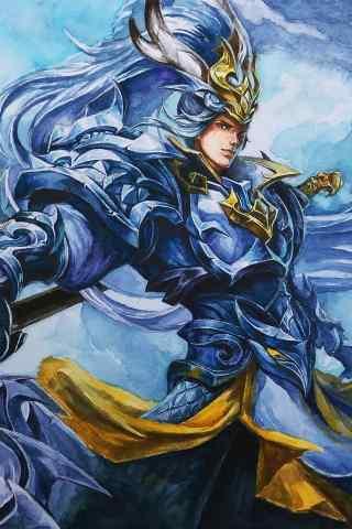 王者荣耀韩信白龙吟手绘手机壁纸