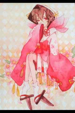 阴阳师桃花妖手绘手机壁纸