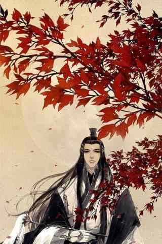 剑网三红色枫叶下的纯阳道长手机锁屏