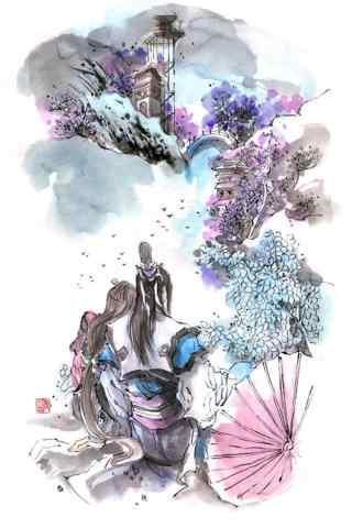 剑网三纯阳唯美水彩画手机壁纸