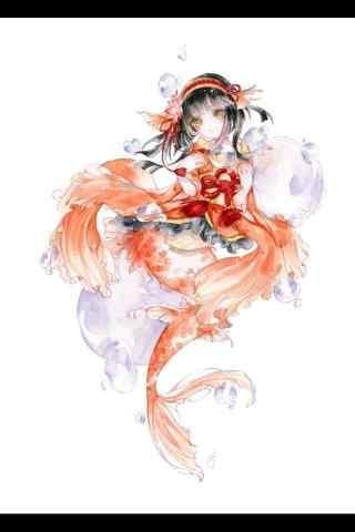 阴阳师鲤鱼精可爱手绘手机壁纸