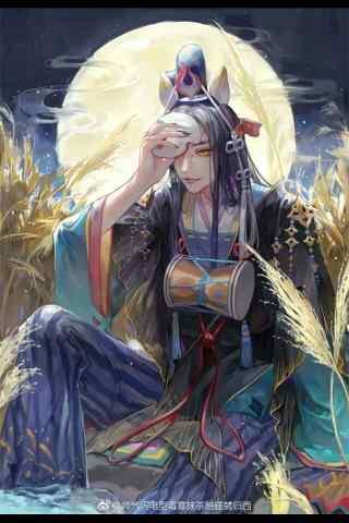 阴阳师玉藻前月下唯美手绘手机壁纸
