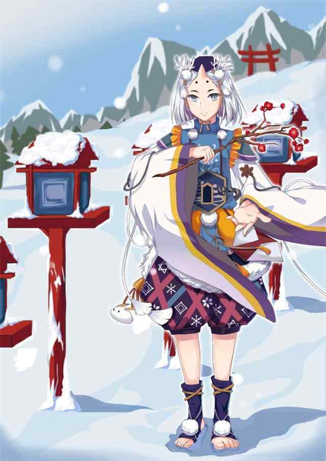 阴阳师雪童子手绘手机锁屏