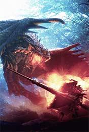 怪物猎人世界猎人对阵雄火龙高清手机壁纸