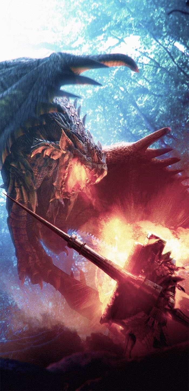 怪物獵人世界獵人對陣雄火龍高清手機壁紙