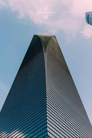 上海金融中心仰拍手机壁纸