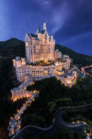 静谧在夜色下的城堡手机壁纸