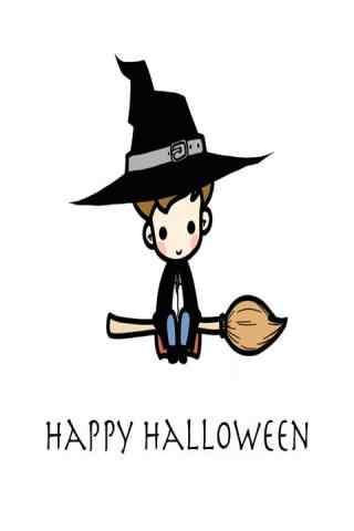 万圣节创意漫画之可爱小男巫手机壁纸