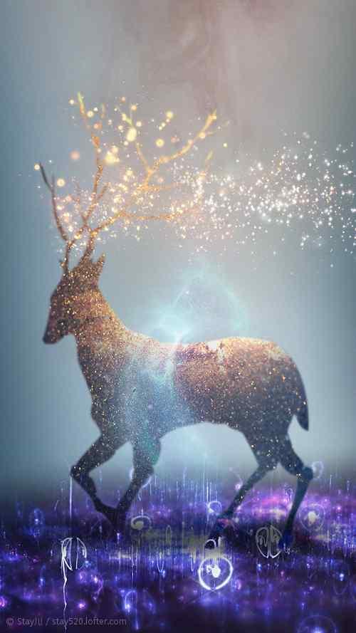 唯美的圣诞节麋鹿手机壁纸
