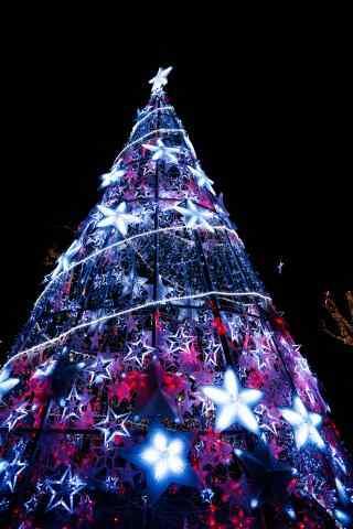 创意星星圣诞树图片手机壁纸