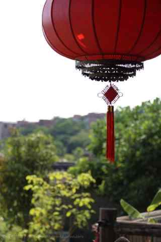 大红灯笼下的中国结手机壁纸