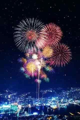 绚烂多彩的都市焰火晚会
