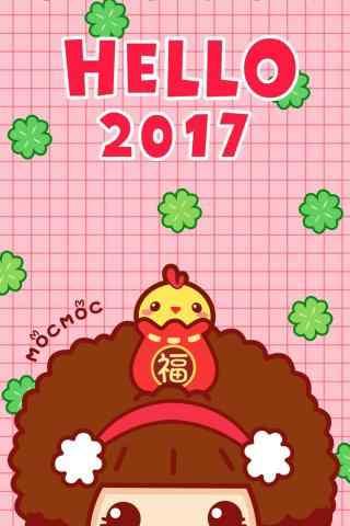 可爱的摩丝女孩新年祝福图片手机壁纸