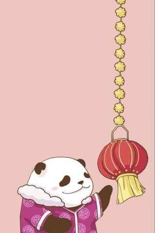可爱的卡通熊猫新年系列手机壁纸