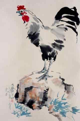 2017年水墨画大公鸡手机壁纸