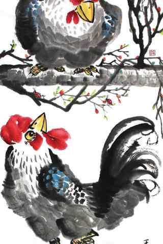 2017年新年-水墨公鸡图片