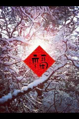 唯美雪景中的福字