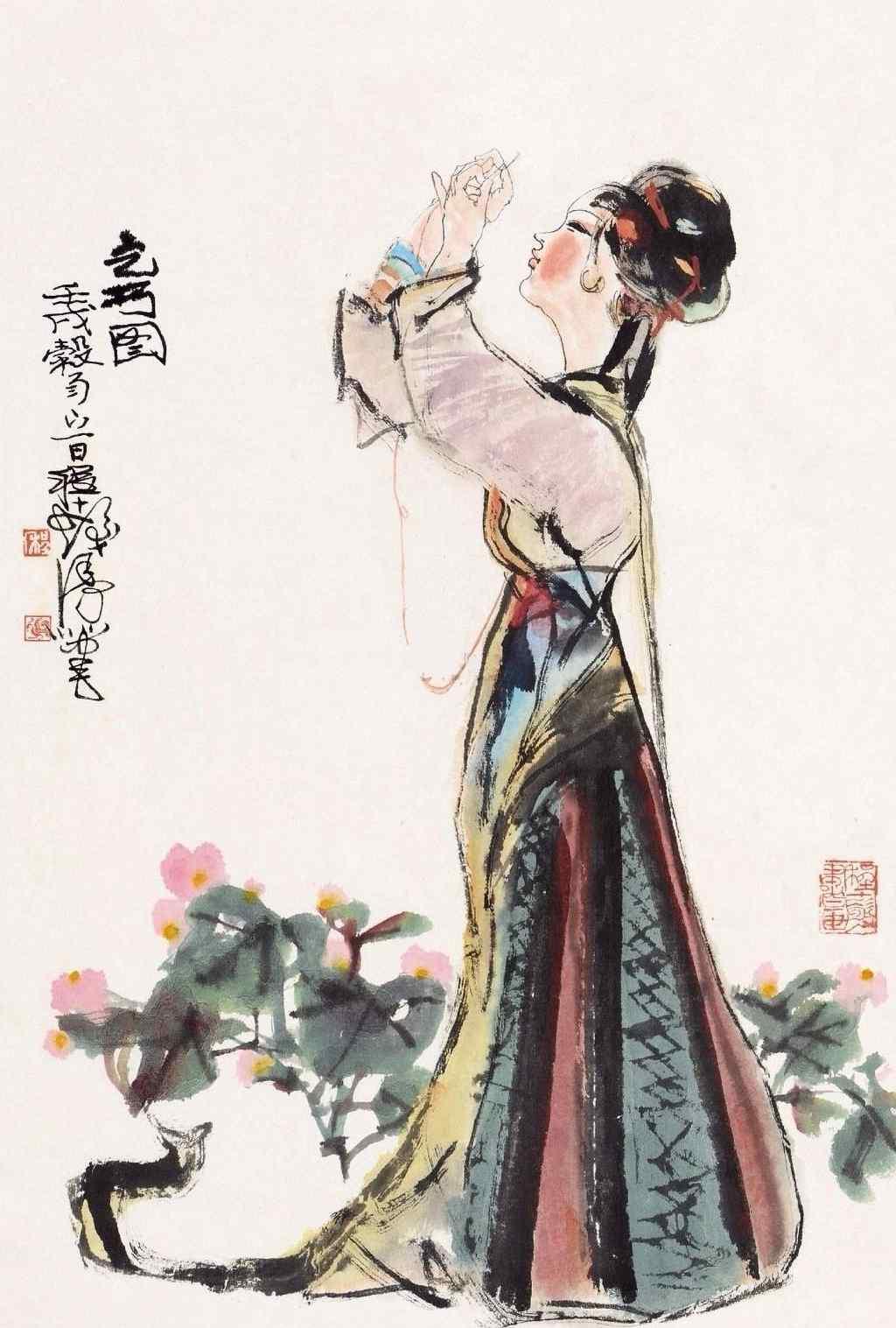 手绘七夕节织女手机壁纸