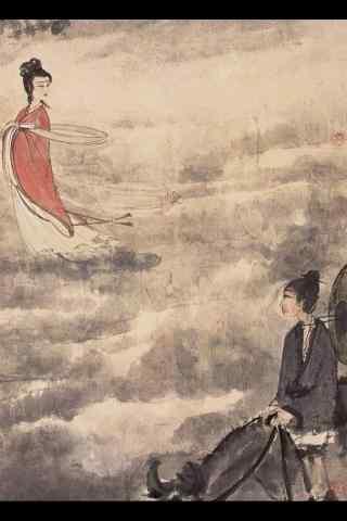 手绘七夕节牛郎与织女手机壁纸