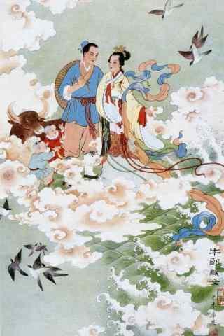 七夕节牛郎织女相会手机壁纸