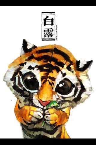 2017白露节气手绘小老虎手机壁纸
