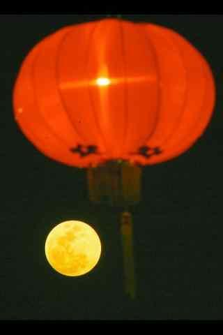 2017年中秋节灯笼与月亮手机壁纸