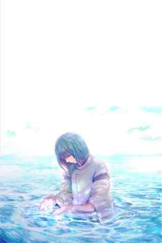 《千与千寻》在水里的小白龙手机壁纸