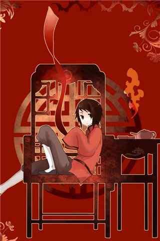 动漫《黑塔利亚》之王耀喜庆红手机壁纸